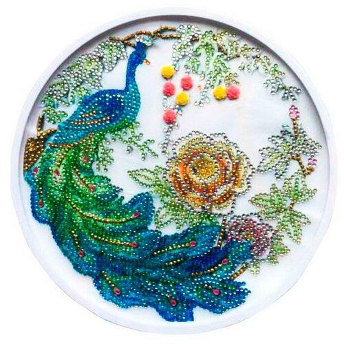 Купить Набор для творчества Рыжий кот Алмазная мозаика Красивый павлин круглая, с подрамником с частичным заполнением, с камнями разных форм (16 цветов) диам