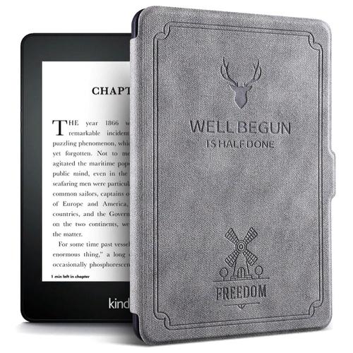 Чехол-обложка MyPads Premium для Amazon Kindle PaperWhite 2018 из высококачественной эко-кожи класса премиум книга в стиле Винтаж под старину серый