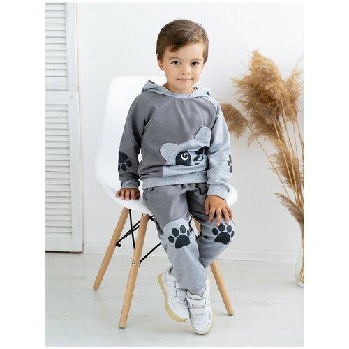 Костюм детский 746, Утенок, размер 56(рост 104 см) серый_меланж_панда (толстовка с капюшоном и брюки)