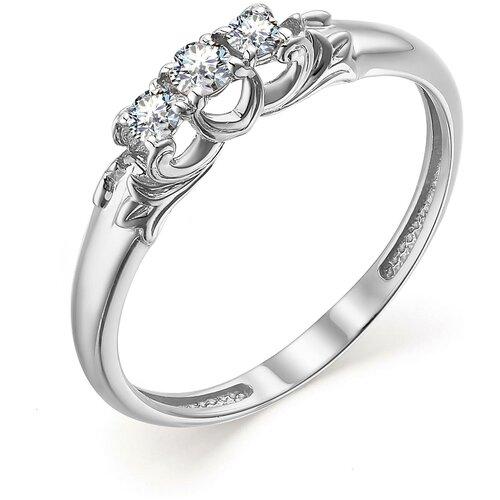 АЛЬКОР Кольцо с 3 бриллиантами из белого золота 13552-200, размер 17.5 алькор кольцо с 3 бриллиантами из красного золота 13552 100 размер 18