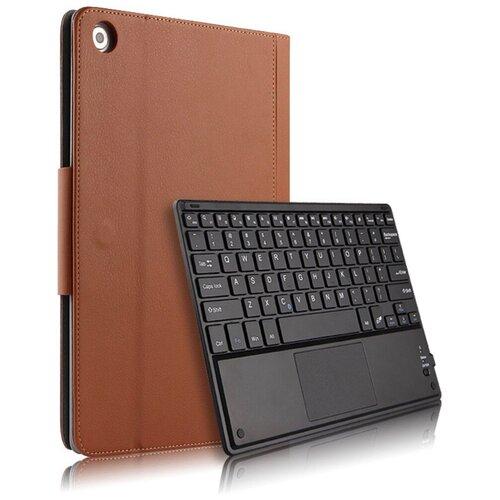 Чехол-клавиатура Mypads для Huawei MediaPad T5 10 (AGS2-L09/AL00/W09) съёмная беспроводная Bluetooth в комплекте c кожаным чехлом и пластиковыми наклейками с русскими буквами