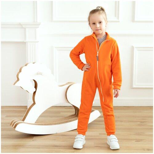 Комбинезон детский, флисовый,286г(ш), Утенок, рост 98 см оранжевый