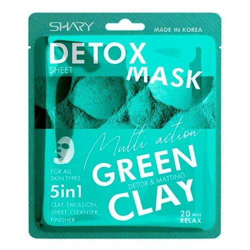 Тканевая маска-эмульсия для лица Shary 5в1 Очищающая Зеленая Глина 25 г