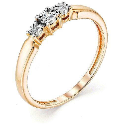 АЛЬКОР Кольцо с 3 бриллиантами из красного золота 13164-100, размер 17 алькор кольцо с 3 бриллиантами из красного золота 13552 100 размер 18