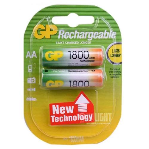 Фото - Аккумуляторы GP Rechargeable 1800 mAh NiMH AA 1.2V (2 шт) аккумуляторы gp 1000 мач в комплекте с зарядным устройством адаптером 1а и кабелем