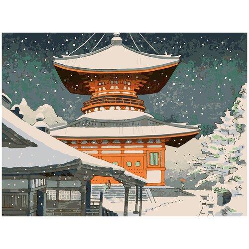 Купить Картина по номерам Японская живопись - снегопад, 80 х 100 см, Красиво Красим, Картины по номерам и контурам