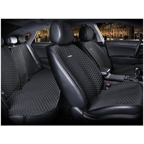 Комплект накидок на автомобильные сиденья CarFashion PALERMO PLUS черный/бежевый
