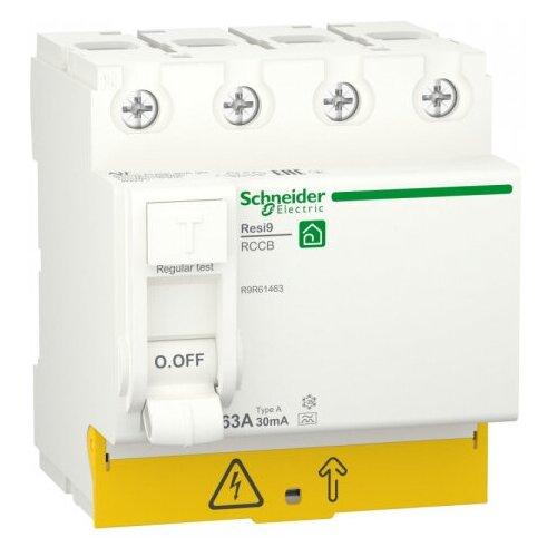 Фото - SE RESI9 Выключатель дифференциального тока (УЗО) 63А 4P 30мА тип A выключатель schneider electric 11463 дифференциального тока узо 4п 40а 30ма вд63 ас серия домовой