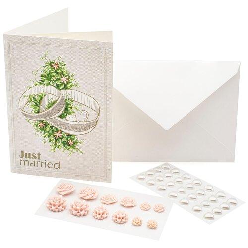 Набор 'Just Married' из открытки с вышивкой и декоративных наклеек , 12*17 см