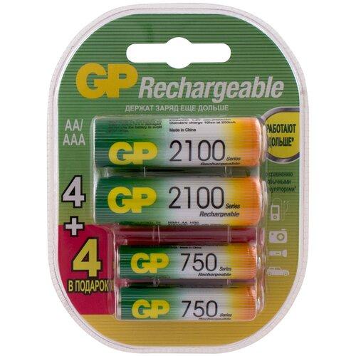 Фото - Аккумуляторная батарейка GP АА (LR6) 2100 мАч, 4 шт. + ААА (HR03) 750 мАч, 4 шт. аккумуляторы gp 1000 мач в комплекте с зарядным устройством адаптером 1а и кабелем