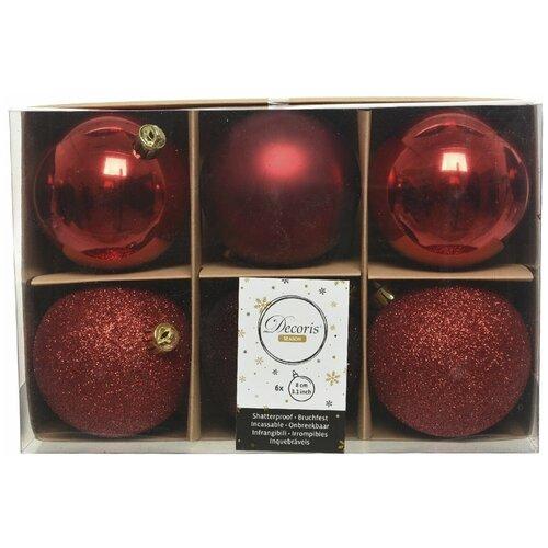 Фото - Набор пластиковых шаров New Year MIX красный/бордовый, 80 мм, упаковка 6 шт., Kaemingk 023572 набор пластиковых шаров new year mix красный бордовый 60 мм упаковка 12 шт kaemingk 023573