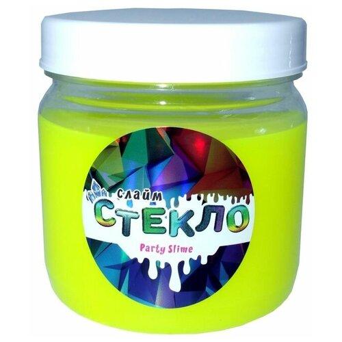 Слайм Стекло серия Party Slime, желтый неон, 400 гр, Слайм Стекло
