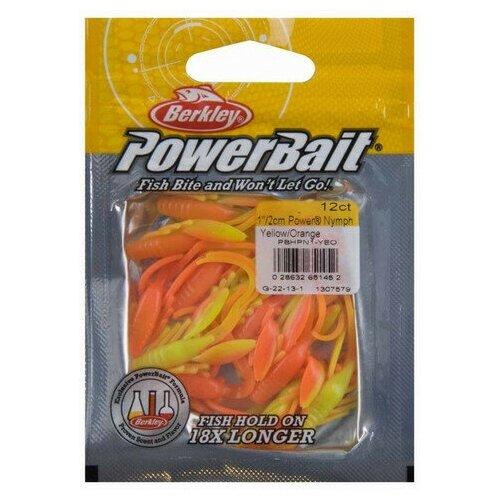 Приманка мягкая Berkley PowerBait Power NYMPH ( дюйм; 25 мм; 12 шт в уп. / YELLOW Orange)