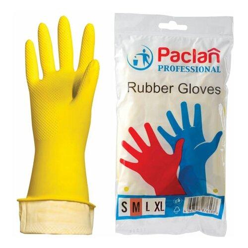 Фото - Перчатки хозяйственные латексные, х/б напыление, размер M (средний), желтые, PACLAN Professional, 3 шт. перчатки хозяйственные paclan виниловые размер l 10 шт
