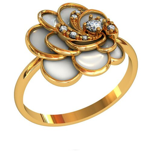 Фото - Приволжский Ювелир Кольцо с 8 фианитами из серебра с позолотой 262614-FA11, размер 18 приволжский ювелир кольцо с 65 фианитами из серебра с позолотой 252119 fa11 размер 19 5