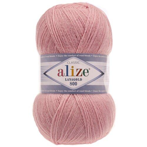 Купить Пряжа для вязания Ализе LanaGold 800 (49% шерсть, 51% акрил) 5х100г/800м цв.161 пудра, Alize