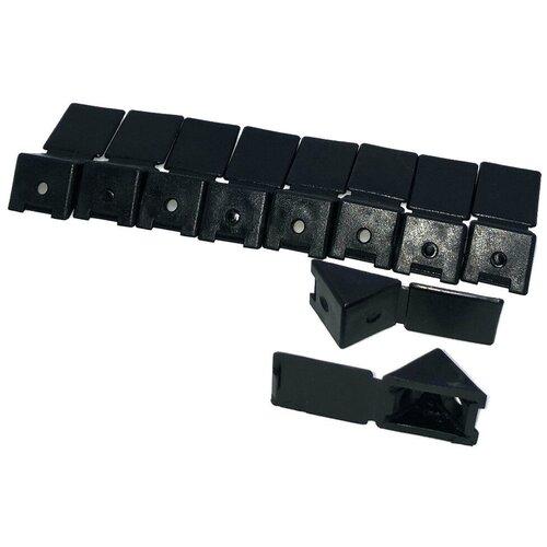 Уголок монтажный мебельный с заглушкой 22 мм, пластик, черный, в комплекте 10 шт