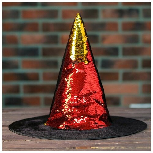 Карнавальная шляпа Конус с пайетками 4449305 карнавальная шляпа смехторг с пайетками