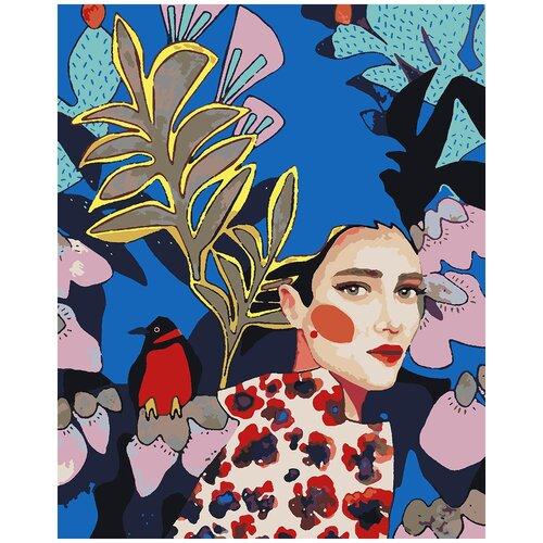Купить Картина по номерам Девушка и снегирь, 80 х 100 см, Красиво Красим, Картины по номерам и контурам