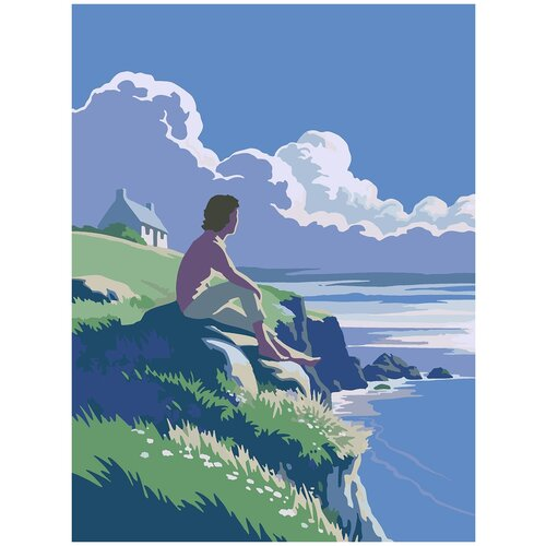 Купить Картина по номерам На берегу минимализм, 80 х 100 см, Красиво Красим, Картины по номерам и контурам