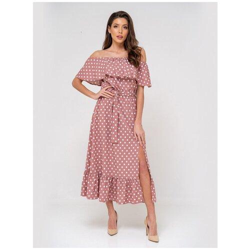 Платье сарафан в горох, открытые плечи с воланом, юбка колокольчик с воланом, розовый цвет, размер XS