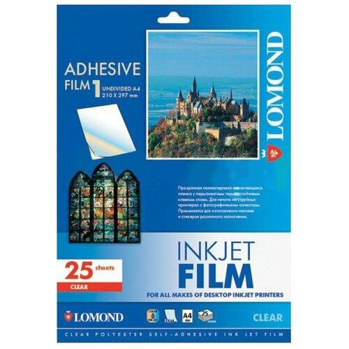 Пленка Lomond для струйной печати, самоклеящаяся, прозрачная, неделенная, 110 г/м² (25 листов А4) {2700003}