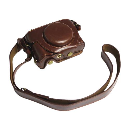 Защитный чехол-сумка-футляр MyPads для фотоаппарата Canon PowerShot G5 X Mark II/ G7 X Mark III противоударный усиленный легкий из качественной кожи темно-коричневый