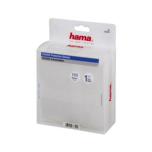 HAMA Конверты Hama для CD/DVD полипропилен прозрачный 100шт H-33810