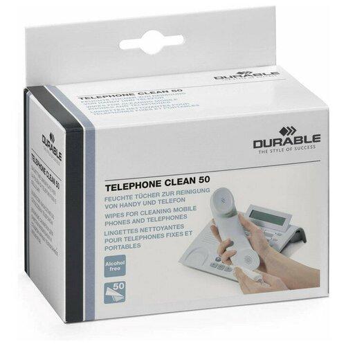 Салфетки для чистки телефонов DURABLE TELEPHONE CLEAN BOX, 50шт./в индивидуальной уп.