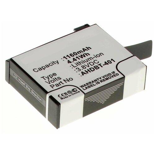 Фото - Аккумулятор iBatt iB-B1-F443 1160mAh для GoPro AHDBT-401, аккумулятор ibatt ib u1 f428 1180mah для gopro hd hero3 hd hero3