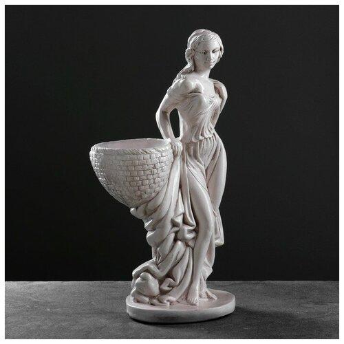 Фигура с кашпо Девушка с корзиной состаренный 64см фигура девушка сидя кашпо на голове состаренный 64см