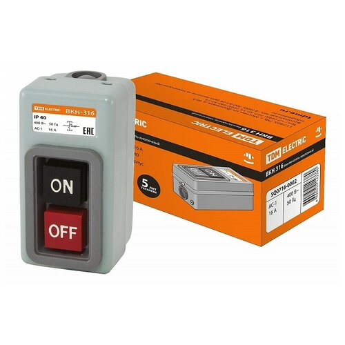 Выключатель кнопочный с блокировкой ВКН-316 3Р 16А 230/400В IP40 TDM, цена за 1 шт