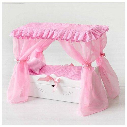 Кроватка с балдахином, постельным бельем, ящиком, белая