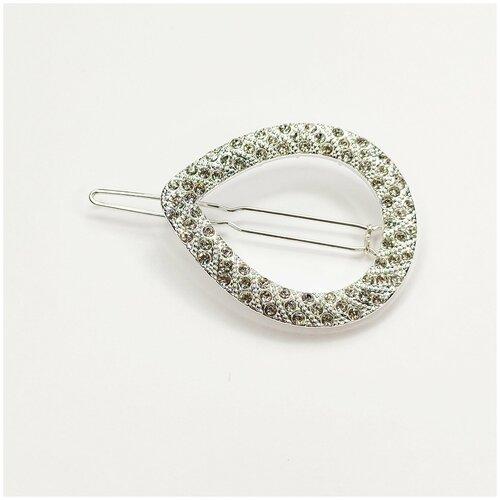 Купить Заколка для волос, капелька серебристая со стразами, 1 шт., Fashion jewelry