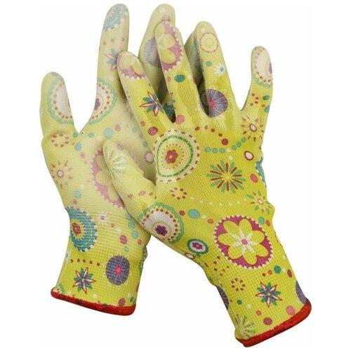 Фото - Перчатки GRINDA садовые, прозрачное PU покрытие, 13 класс вязки, зеленые, размер M перчатки садовые verdemax серо зеленые m