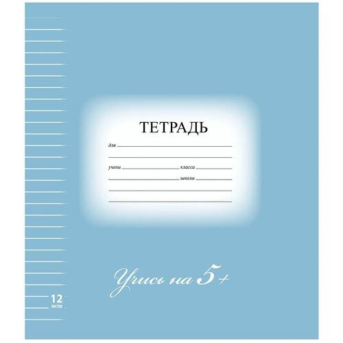 Купить Тетрадь 12 л. BRAUBERG ЭКО 5-КА , линия, обложка плотная мелованная бумага, синяя, 104764, Тетради