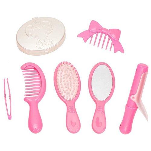Игровой набор салон красоты для девочек косметика игрушки технок (расческа, плойка), 7 шт / набор парикмахера детский / парикмахерская детская / салон красоты для девочек