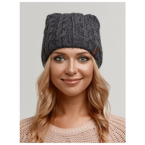 Женская зимняя шапка с ушками на флисе, крупная вязка, темно-серый цвет