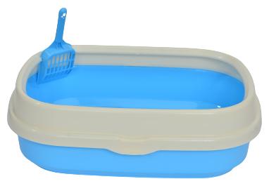 """Лоток для кошачьего туалета, с совком """"Чистый котик"""", 47х39х18,5см, синий — купить по выгодной цене на Яндекс.Маркете"""
