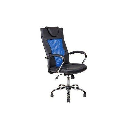 Компьютерные кресла алвест Кресло AV 134 СН (04) MK экокожа/экокожа перф/сетка однсл 223/253/471 черная/черная перф/синя