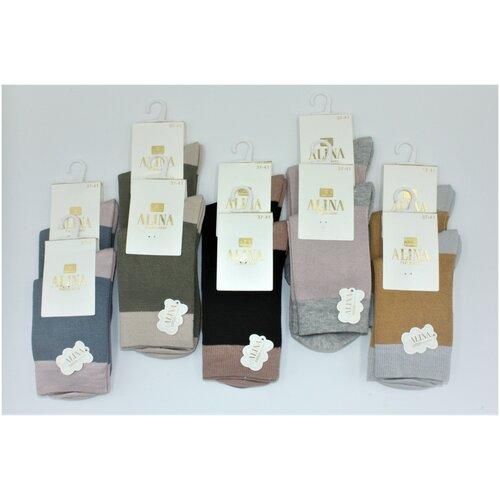 Носки женские Alina CC2019 /10пар , синие, зеленые, черные, розовые, горчичные, размер 37-41