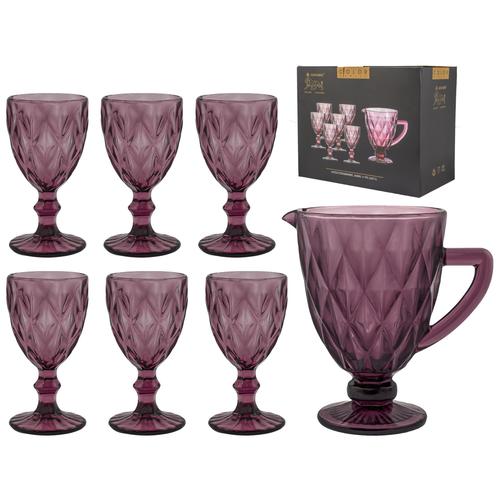 Фото - LENARDI Набор бокалов для вина 6 шт. 240 мл+ 1 кувшин 1 л. (розовый) набор сервировочный 8 пр розы на белом поднос круглый кувшин 0 25 л рюмка 20 мл 6 шт 409293