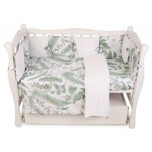 Amarobaby бортик в кроватку Exclusive Soft Collection Папоротники белый/зеленый amarobaby комплект в кроватку exclusive soft collection папоротники 7 предметов белый зеленый