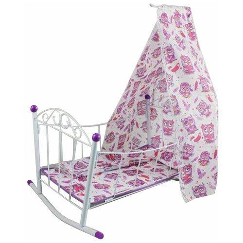 Кроватка-люлька с балдахином Совушка, 48*35.5*58 см, металлическая Shantoy Gepay M0611-13