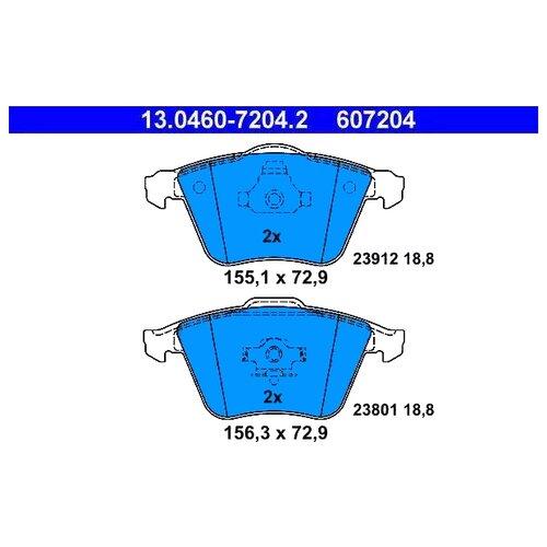 Дисковые тормозные колодки передние ATE 13.0460-7204.2 для Volvo, Ford, Saab, Mazda (4 шт.)