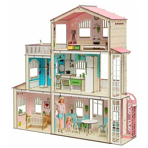 Деревянный кукольный домик с мебелью для Барби Симфония