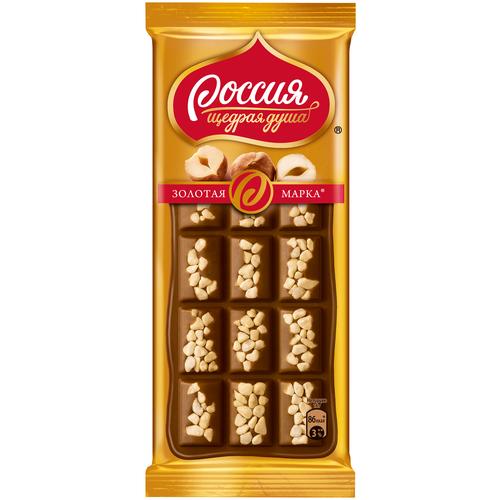 шоколад россия щедрая душа молочный пористый 82 г Шоколад Россия - Щедрая душа! Золотая марка молочный с фундуком 25% какао, 80 г