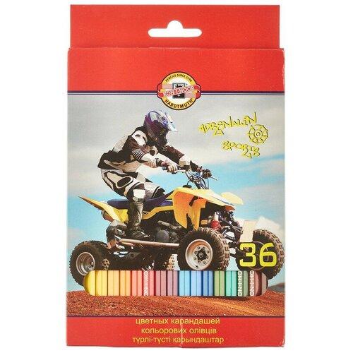 Карандаши цветные 36цв 6-гран Koh-I-Noor SPORT 3555 2 шт.