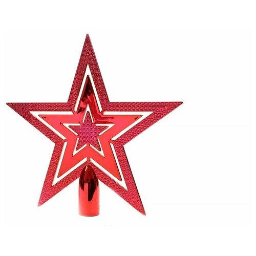 Верхушка елочная из пластика сверкающая звезда, красная, пластик, 20 см, Kaemingk 029998
