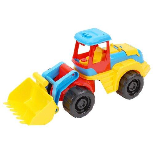 Трактор с ковшом бульдозер игрушка чёрно-жёлтый ТехноК на колёсах